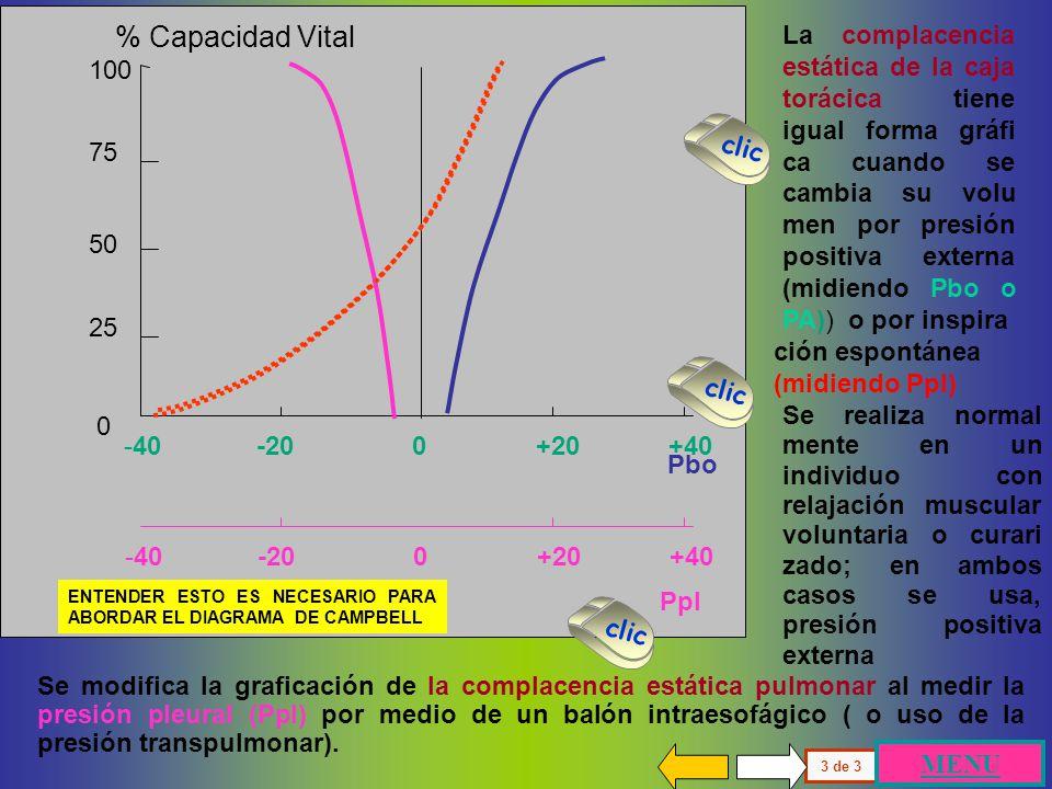 100 75 50 25 0 % Capacidad Vital Presión Alveolar -40 -20 0 +20 +40 Todo lo descrito hasta aquí corresponde a la medición habitual en la época en que