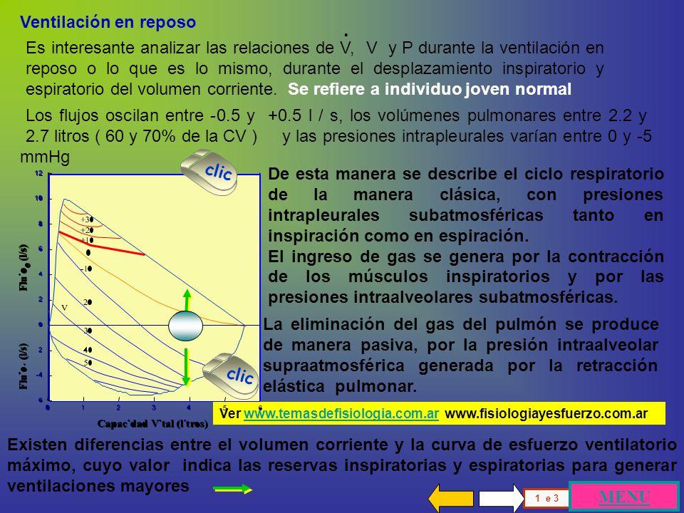 V4 V Flujo Flujo + V3 V2 - 3 4 Flujo + Flujo - 3 2 4 3 2 Presión 4 2 4 3 2 Curva Flujo-Volumen individuo joven normal las relaciones flujo-presión a isovolumen demuestran que las vías aéreas en cada volumen pulmonar explorado, alcanza un flujo máximo que no puede ser sobrepasado.