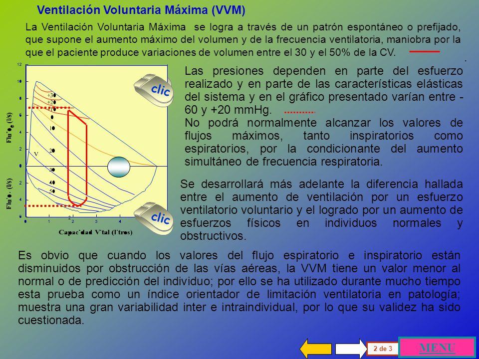 Existen diferencias entre el volumen corriente y la curva de esfuerzo ventilatorio máximo, cuyo valor indica las reservas inspiratorias y espiratorias
