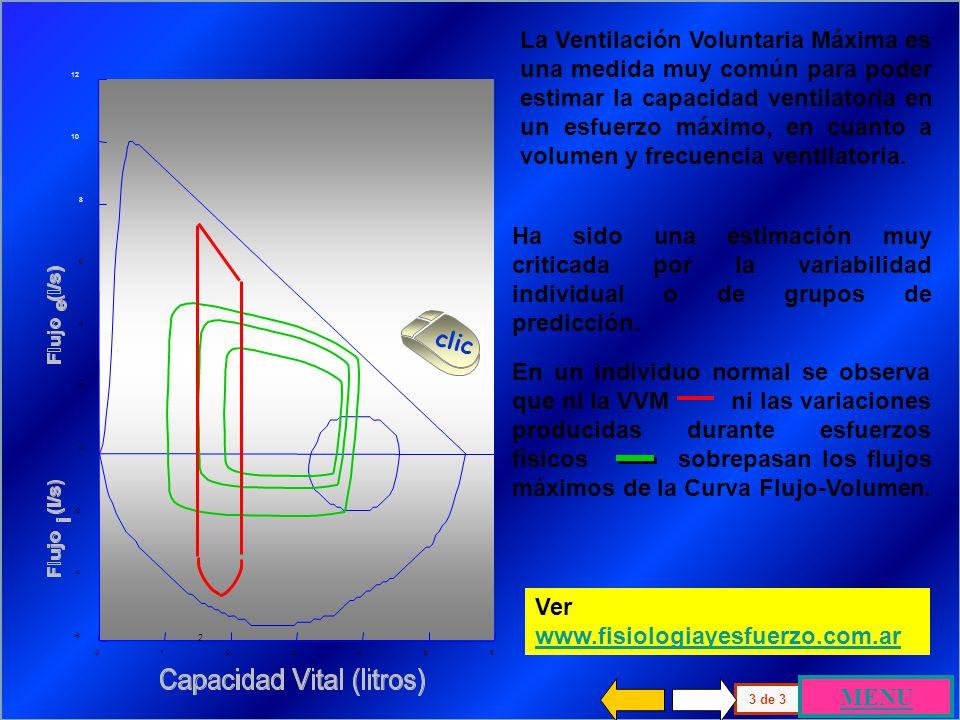La Ventilación Voluntaria Máxima se logra a través de un patrón espontáneo o prefijado, que supone el aumento máximo del volumen y de la frecuencia ventilatoria, maniobra por la que el paciente produce variaciones de volumen entre el 30 y el 50% de la CV.