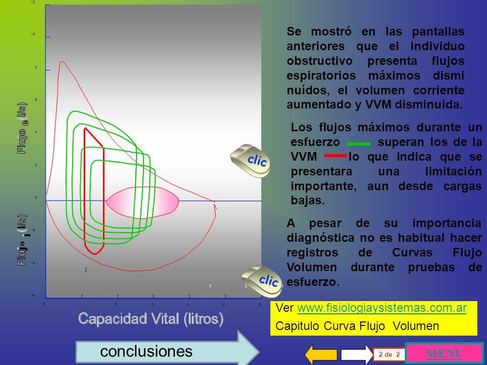 1 de 2 Individuo Obstructivo Capacidad Vital (litros) Flujo (l/s) e 0 2 4 6 8 10 12 -6 1234 i i 0 -2 -4 Se presenta la Curva Flujo Volumen de un individuo normal, como se vió en pantallas anteriores en el trazado con una línea azul, su volumen corriente y la reserva inspiratoria y espiratoria.