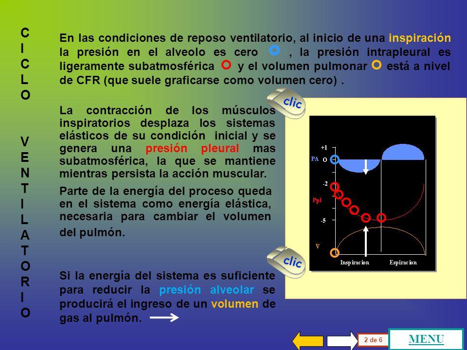 El ciclo ventilatorio es una forma común de describir las variaciones de presión, volumen y numerosas variables que se grafican en ordenadas : C I C L O V E N T I L A T O R I O Inspiración Espiración O +1 -2 -5 PA Ppl V En abscisas se encuentra el tiempo que habitualmente se presenta como la inspiración y la espiración.