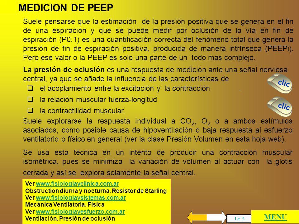 MEDICION DE PEEPI PRESION GASTRICA AUMENTADA VARIACION DE Ti y Te VOLUMEN DE TORAX Y ABDOMEN PEEP CORREGIDA PEEPi estática y dinámica MENU GENERAL