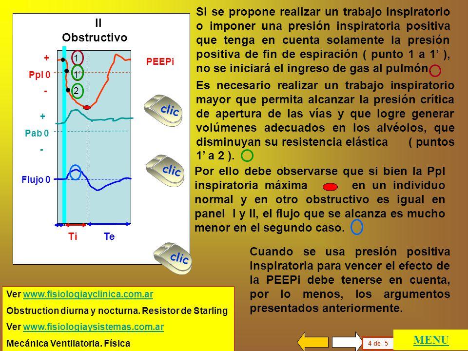 En el panel II se muestra la ventilación de un individuo obstructivo que ha generado PEEP intrínseca (PEEPi). Flujo 0 + Pab 0 - + Ppl 0 - NormalObstru