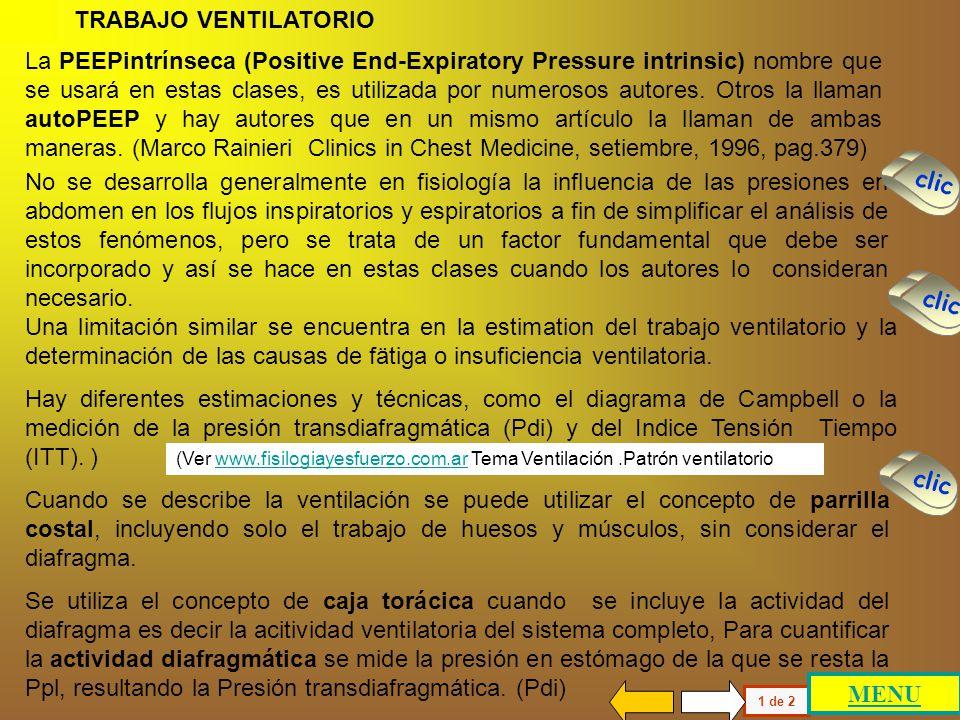 TRABAJO VENTILATORIO PRESION PLEURAL PRESION TRANSPULMONAR PRESION ABDOMINAL PRESION TRANSDIAFRAGMATICA FATIGA VENTILATORIA TRABAJO VENTILATORIO PRESI
