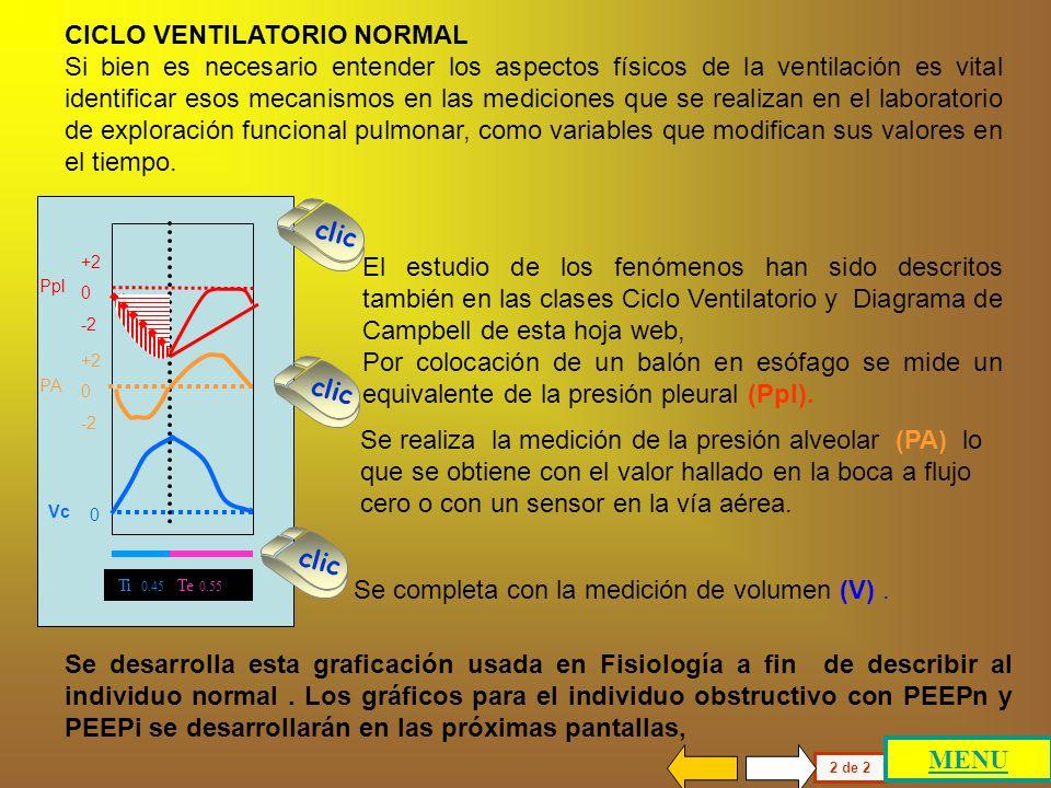 En el primer panel se representan las variaciones de la presión pleural (Ppl, a), de la presión alveolar (PA, b) y del volumen corriente (Vc, c) duran