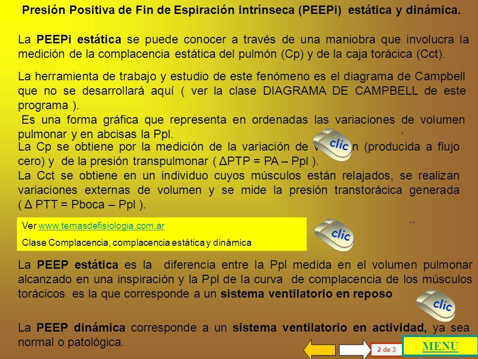 CAUSAS GENERADORAS DE PEEPi 1.- AUMENTO DE COMPLACENCIA PULMONAR (Cp) DISMINUCION DE RESISTENCIA ELASTICA (Re) DISMINUCION DE LA RETRACCION ELASTICA E