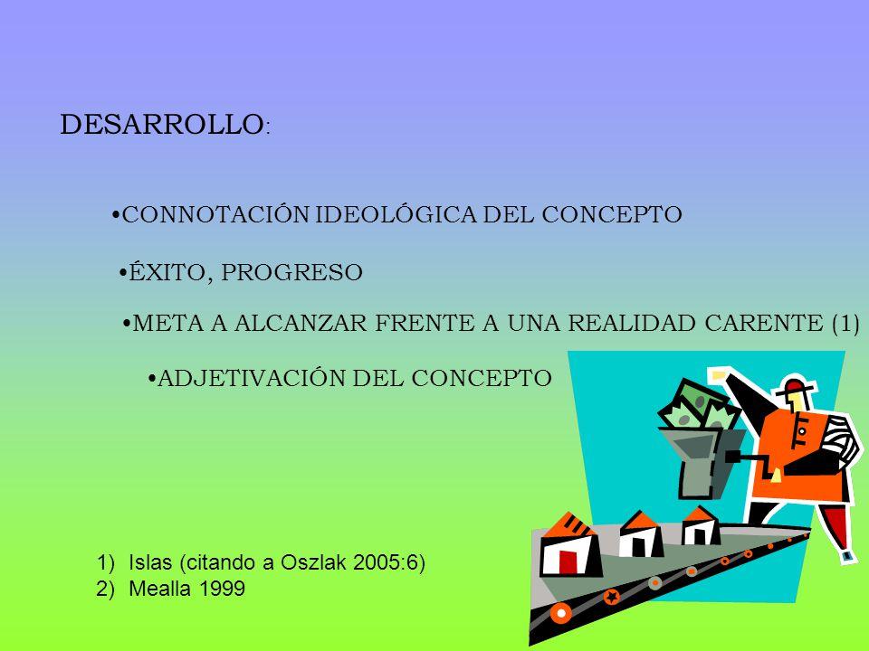 DESARROLLO : ÉXITO, PROGRESO META A ALCANZAR FRENTE A UNA REALIDAD CARENTE (1) CONNOTACIÓN IDEOLÓGICA DEL CONCEPTO ADJETIVACIÓN DEL CONCEPTO 1)Islas (