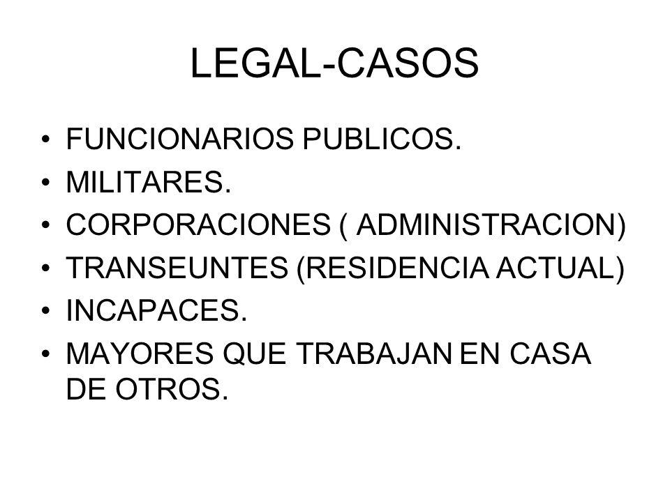 LEGAL-CASOS FUNCIONARIOS PUBLICOS. MILITARES. CORPORACIONES ( ADMINISTRACION) TRANSEUNTES (RESIDENCIA ACTUAL) INCAPACES. MAYORES QUE TRABAJAN EN CASA