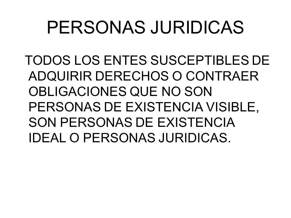PERSONAS JURIDICAS TODOS LOS ENTES SUSCEPTIBLES DE ADQUIRIR DERECHOS O CONTRAER OBLIGACIONES QUE NO SON PERSONAS DE EXISTENCIA VISIBLE, SON PERSONAS D