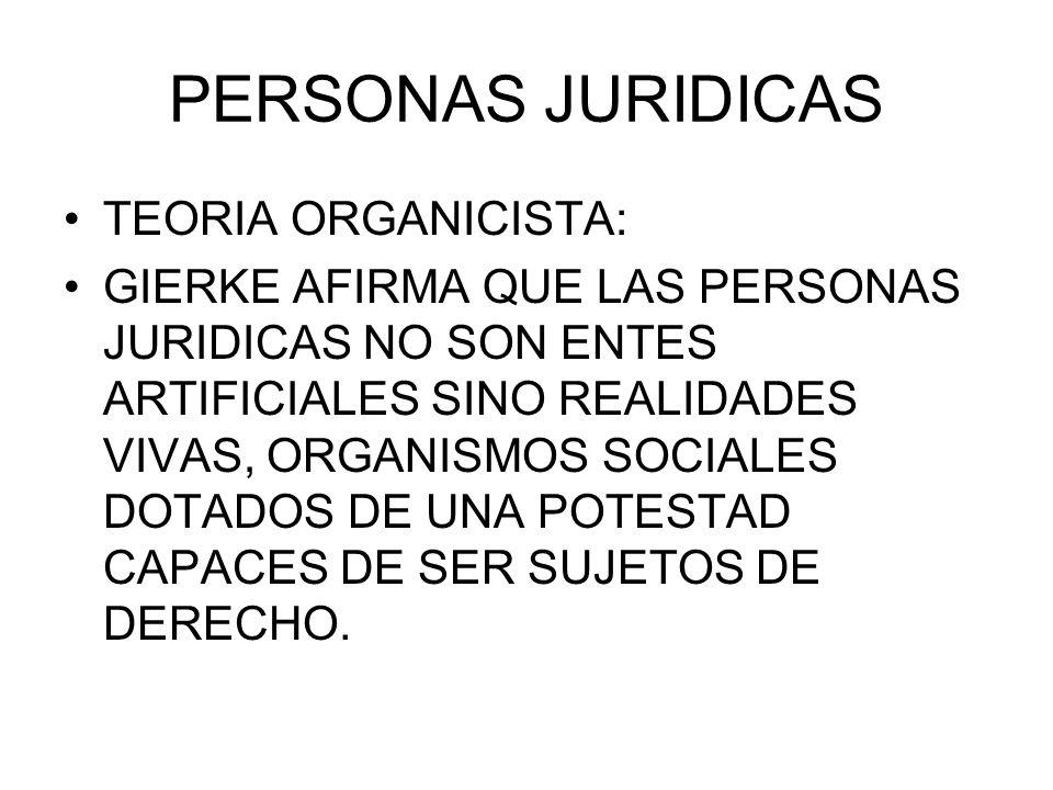 PERSONAS JURIDICAS TEORIA ORGANICISTA: GIERKE AFIRMA QUE LAS PERSONAS JURIDICAS NO SON ENTES ARTIFICIALES SINO REALIDADES VIVAS, ORGANISMOS SOCIALES D