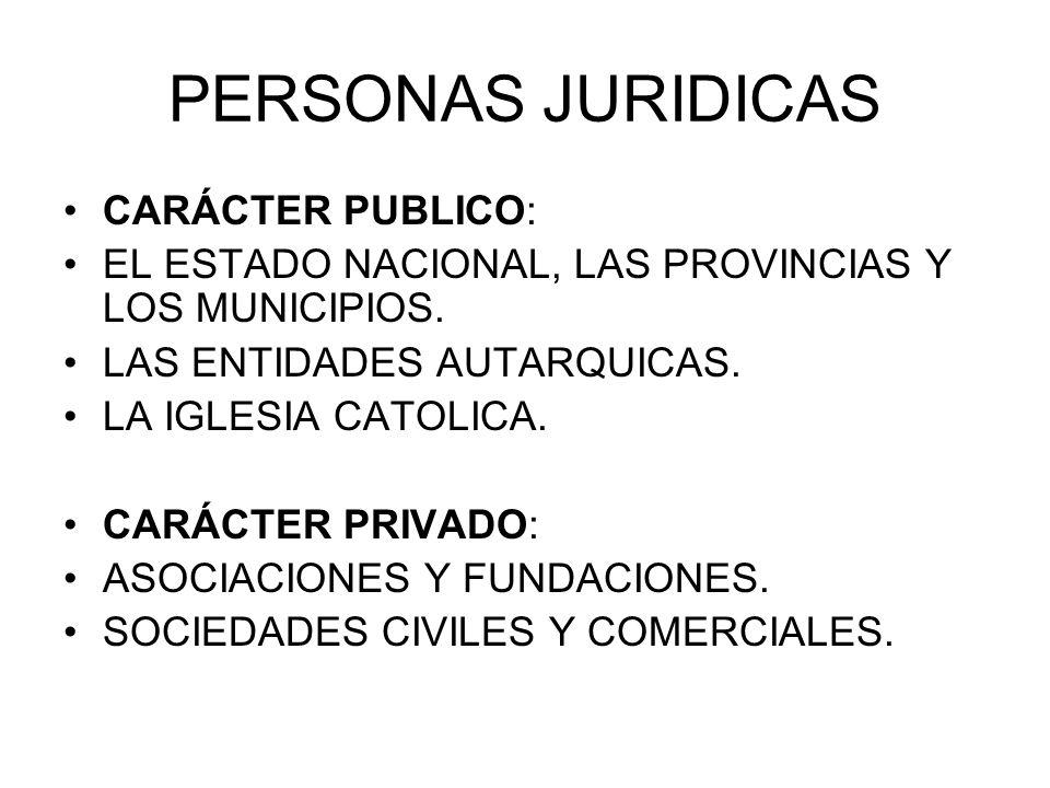 PERSONAS JURIDICAS CARÁCTER PUBLICO: EL ESTADO NACIONAL, LAS PROVINCIAS Y LOS MUNICIPIOS. LAS ENTIDADES AUTARQUICAS. LA IGLESIA CATOLICA. CARÁCTER PRI