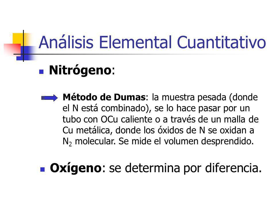 Análisis Elemental Cuantitativo Nitrógeno: Método de Dumas: la muestra pesada (donde el N está combinado), se lo hace pasar por un tubo con OCu caliente o a través de un malla de Cu metálica, donde los óxidos de N se oxidan a N 2 molecular.