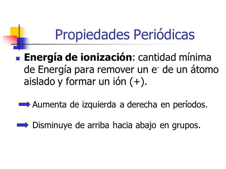 Propiedades Periódicas Energía de ionización: cantidad mínima de Energía para remover un e - de un átomo aislado y formar un ión (+).