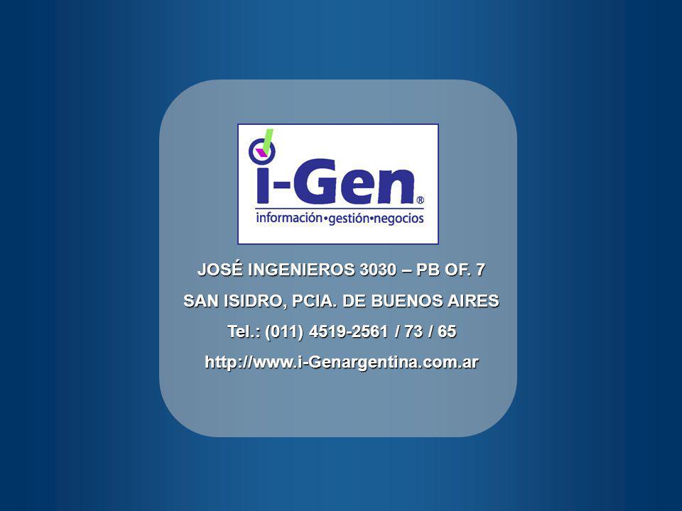 JOSÉ INGENIEROS 3030 – PB OF.7 SAN ISIDRO, PCIA.