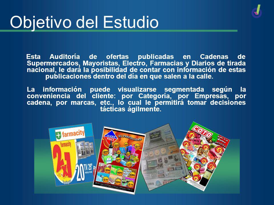 Objetivo del Estudio Esta Auditoría de ofertas publicadas en Cadenas de Supermercados, Mayoristas, Electro, Farmacias y Diarios de tirada nacional, le