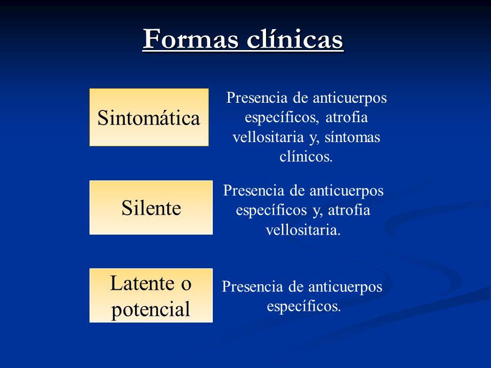 Formas clínicas Sintomática Silente Latente o potencial Presencia de anticuerpos específicos, atrofia vellositaria y, síntomas clínicos. Presencia de