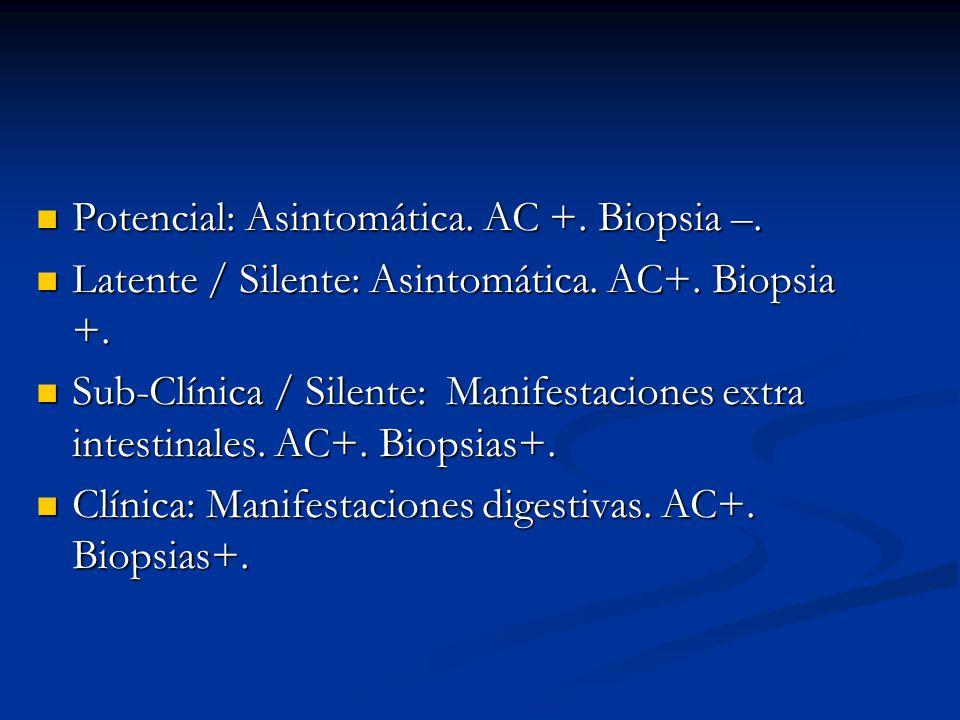 Potencial: Asintomática. AC +. Biopsia –. Potencial: Asintomática. AC +. Biopsia –. Latente / Silente: Asintomática. AC+. Biopsia +. Latente / Silente