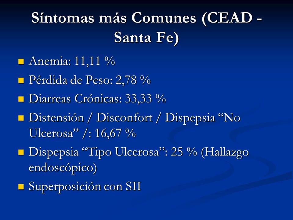Síntomas más Comunes (CEAD - Santa Fe) Anemia: 11,11 % Anemia: 11,11 % Pérdida de Peso: 2,78 % Pérdida de Peso: 2,78 % Diarreas Crónicas: 33,33 % Diar