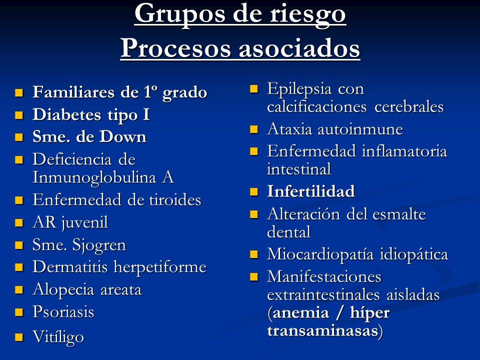 Grupos de riesgo Procesos asociados Familiares de 1º grado Familiares de 1º grado Diabetes tipo I Diabetes tipo I Sme. de Down Sme. de Down Deficienci