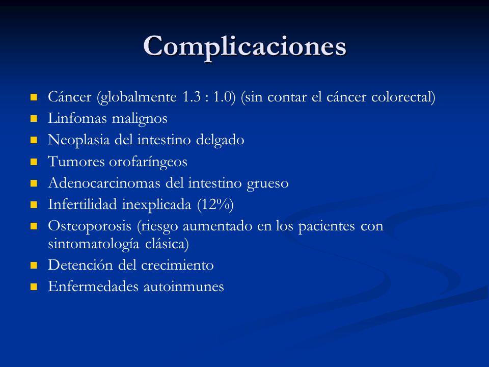 Complicaciones Cáncer (globalmente 1.3 : 1.0) (sin contar el cáncer colorectal) Linfomas malignos Neoplasia del intestino delgado Tumores orofaríngeos