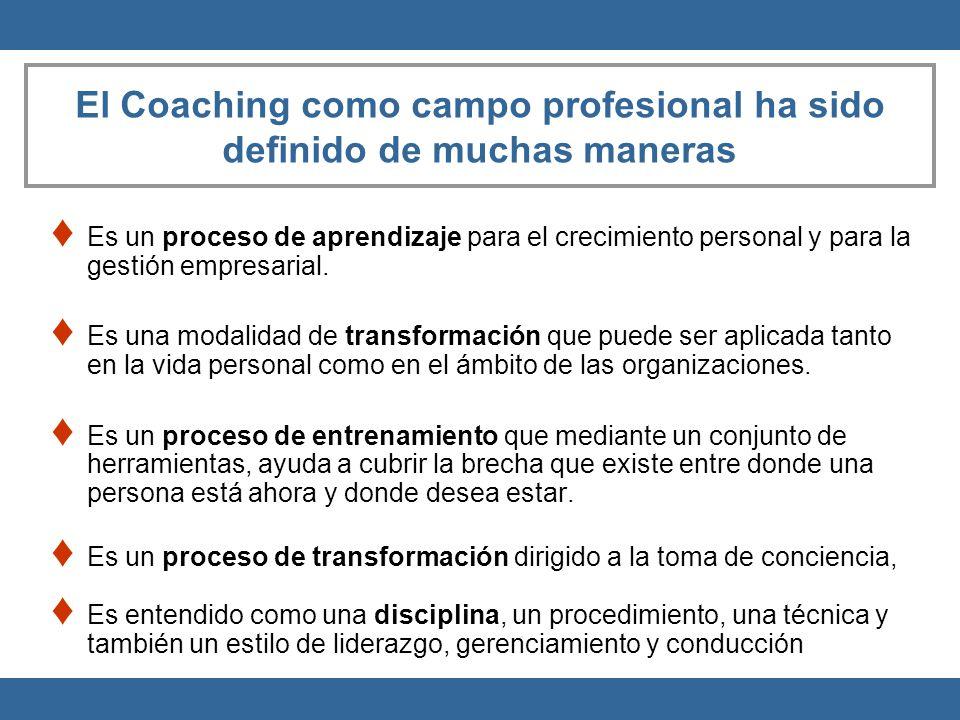 El Coaching como campo profesional ha sido definido de muchas maneras Es un proceso de aprendizaje para el crecimiento personal y para la gestión empr