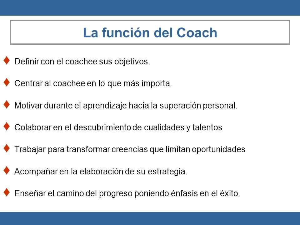 La función del Coach Definir con el coachee sus objetivos. Centrar al coachee en lo que más importa. Motivar durante el aprendizaje hacia la superació