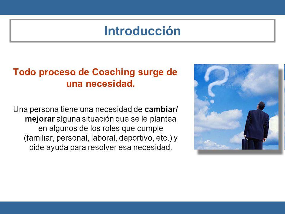 Introducción Todo proceso de Coaching surge de una necesidad. Una persona tiene una necesidad de cambiar/ mejorar alguna situación que se le plantea e