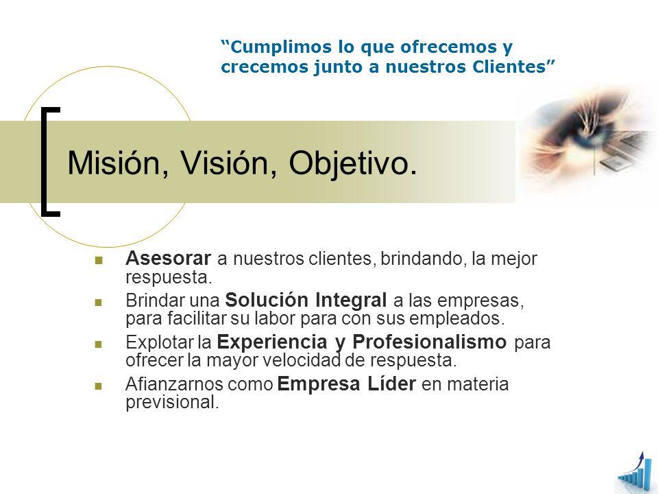 Misión, Visión, Objetivo. Asesorar a nuestros clientes, brindando, la mejor respuesta. Brindar una Solución Integral a las empresas, para facilitar su