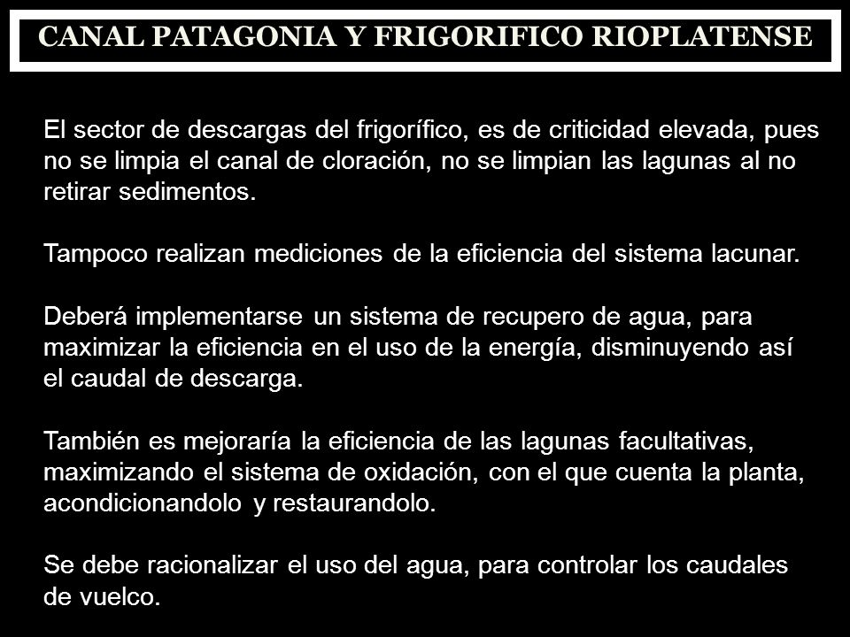 CANAL PATAGONIA Y FRIGORIFICO RIOPLATENSE El sector de descargas del frigorífico, es de criticidad elevada, pues no se limpia el canal de cloración, n