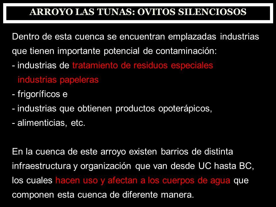 ARROYO LAS TUNAS: OVITOS SILENCIOSOS Dentro de esta cuenca se encuentran emplazadas industrias que tienen importante potencial de contaminación: - ind