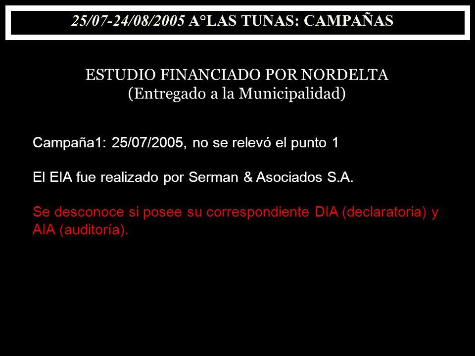 25/07-24/08/2005 A°LAS TUNAS: CAMPAÑAS ESTUDIO FINANCIADO POR NORDELTA (Entregado a la Municipalidad) Campaña1: 25/07/2005, no se relevó el punto 1 El