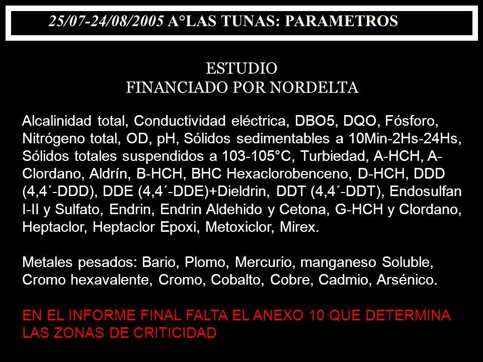 25/07-24/08/2005 A°LAS TUNAS: PARAMETROS ESTUDIO FINANCIADO POR NORDELTA Alcalinidad total, Conductividad eléctrica, DBO5, DQO, Fósforo, Nitrógeno tot