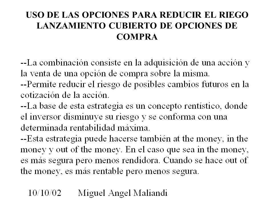 USO DE LAS OPCIONES PARA REDUCIR EL RIEGO LANZAMIENTO CUBIERTO DE OPCIONES DE COMPRA