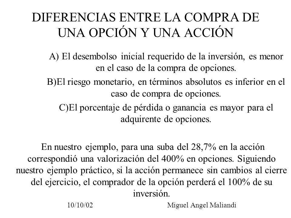 DIFERENCIAS ENTRE LA COMPRA DE UNA OPCIÓN Y UNA ACCIÓN A) El desembolso inicial requerido de la inversión, es menor en el caso de la compra de opcione