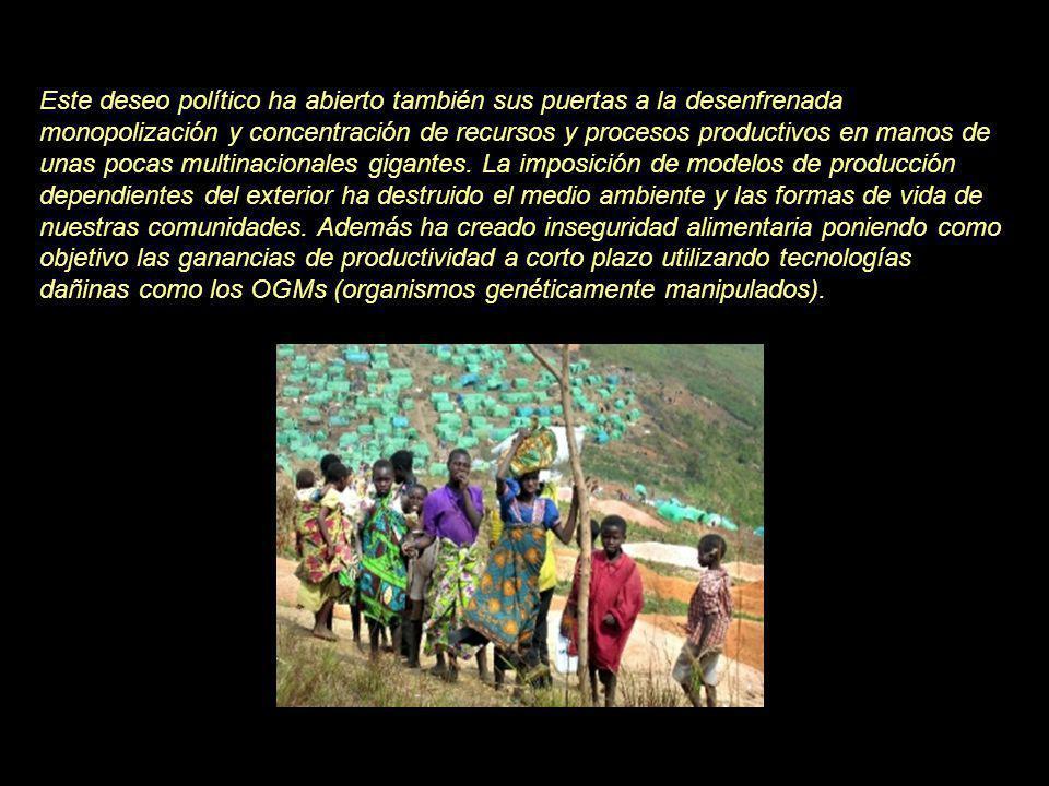 BM y FMI han forzado la apertura de los mercados al dumping de productos agrarios, la privatización de los servicios sociales básicos (educación, sanidad,…) y las instituciones de soporte económico, así como la privatización y la comercialización de las tierras públicas y comunales, del agua, de los bancos de pesca y de los bosques.