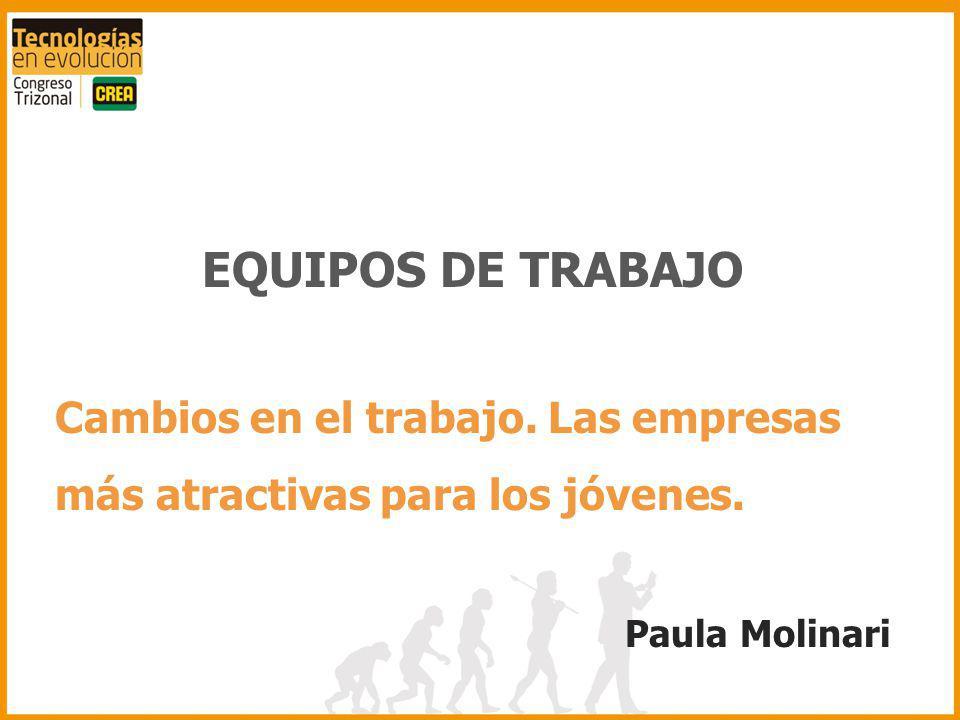 EQUIPOS DE TRABAJO Cambios en el trabajo. Las empresas más atractivas para los jóvenes. Paula Molinari