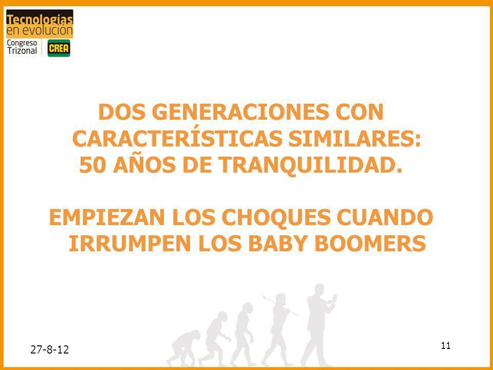 11 DOS GENERACIONES CON CARACTERÍSTICAS SIMILARES: 50 AÑOS DE TRANQUILIDAD. EMPIEZAN LOS CHOQUES CUANDO IRRUMPEN LOS BABY BOOMERS 27-8-12