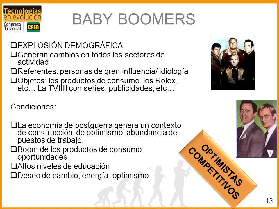 13 BABY BOOMERS EXPLOSIÓN DEMOGRÁFICA Generan cambios en todos los sectores de actividad Referentes: personas de gran influencia/ idiología Objetos: l