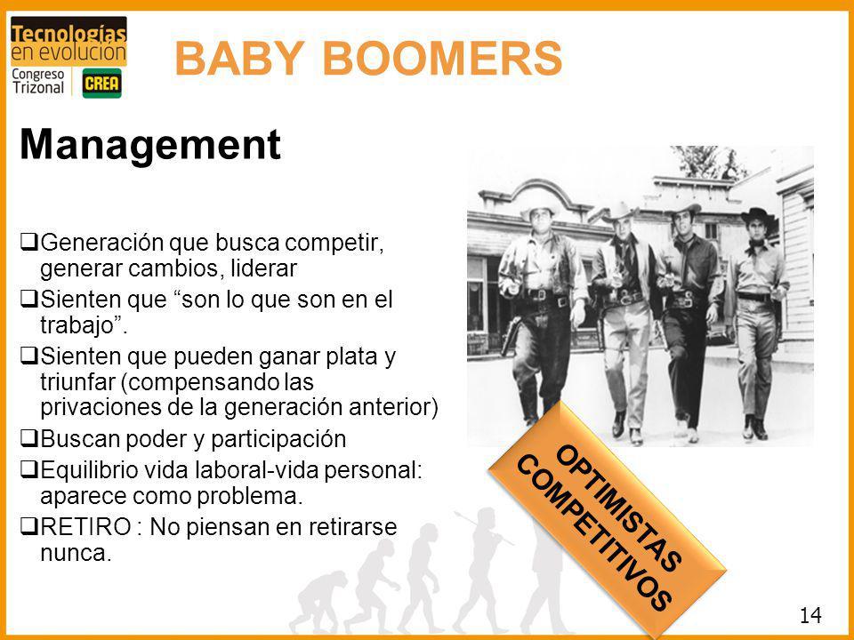 14 BABY BOOMERS Management Generación que busca competir, generar cambios, liderar Sienten que son lo que son en el trabajo. Sienten que pueden ganar