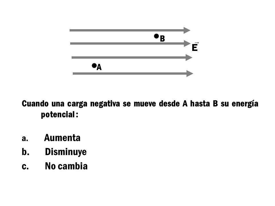 A B La diferencia de potencial V = V A - V B es: a. Mayor que cero b. Menor que cero c. Cero