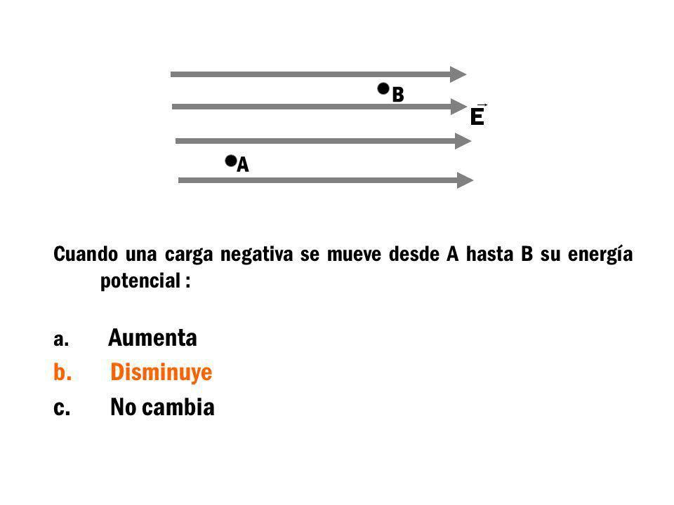 Cuando una carga negativa se mueve desde A hasta B su energía potencial : a. Aumenta b. Disminuye c. No cambia A B