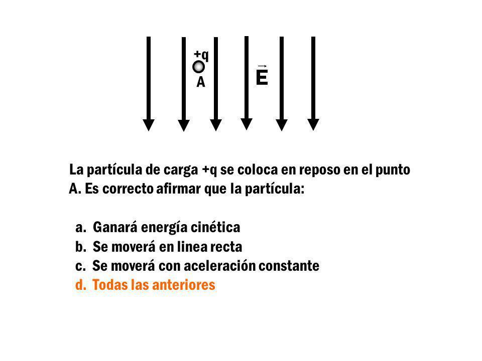 +q A La partícula de carga +q se coloca en reposo en el punto A. Es correcto afirmar que la partícula: a. Ganará energía cinética b. Se moverá en line