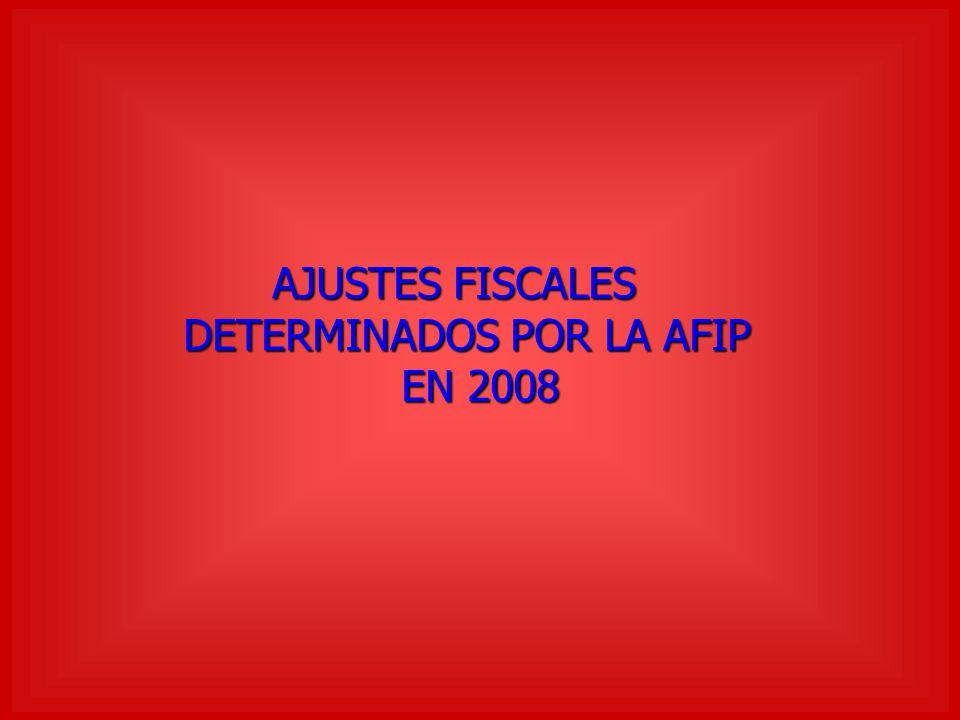 AJUSTES FISCALES DETERMINADOS POR LA AFIP DETERMINADOS POR LA AFIP EN 2008 EN 2008
