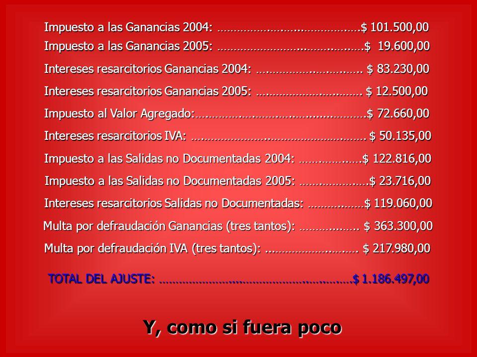 Impuesto a las Ganancias 2004: …………….….…...………….….$ 101.500,00 Impuesto a las Ganancias 2005: ……………………...……..…..….$ 19.600,00 Intereses resarcitorios