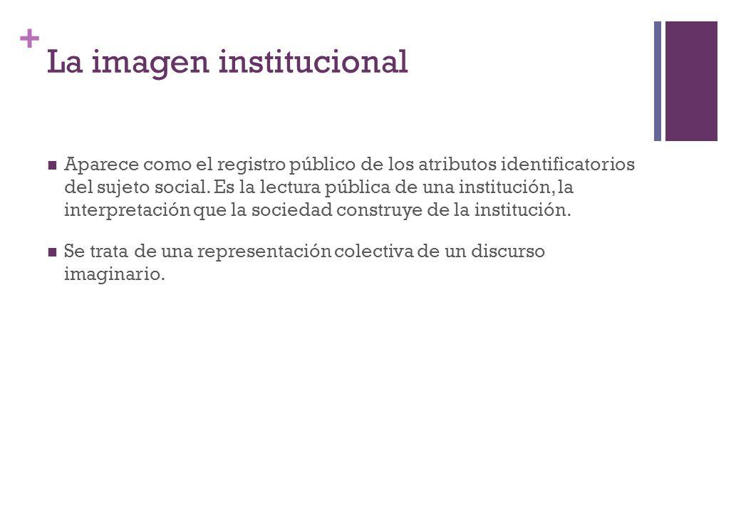+ La imagen institucional Aparece como el registro público de los atributos identificatorios del sujeto social. Es la lectura pública de una instituci