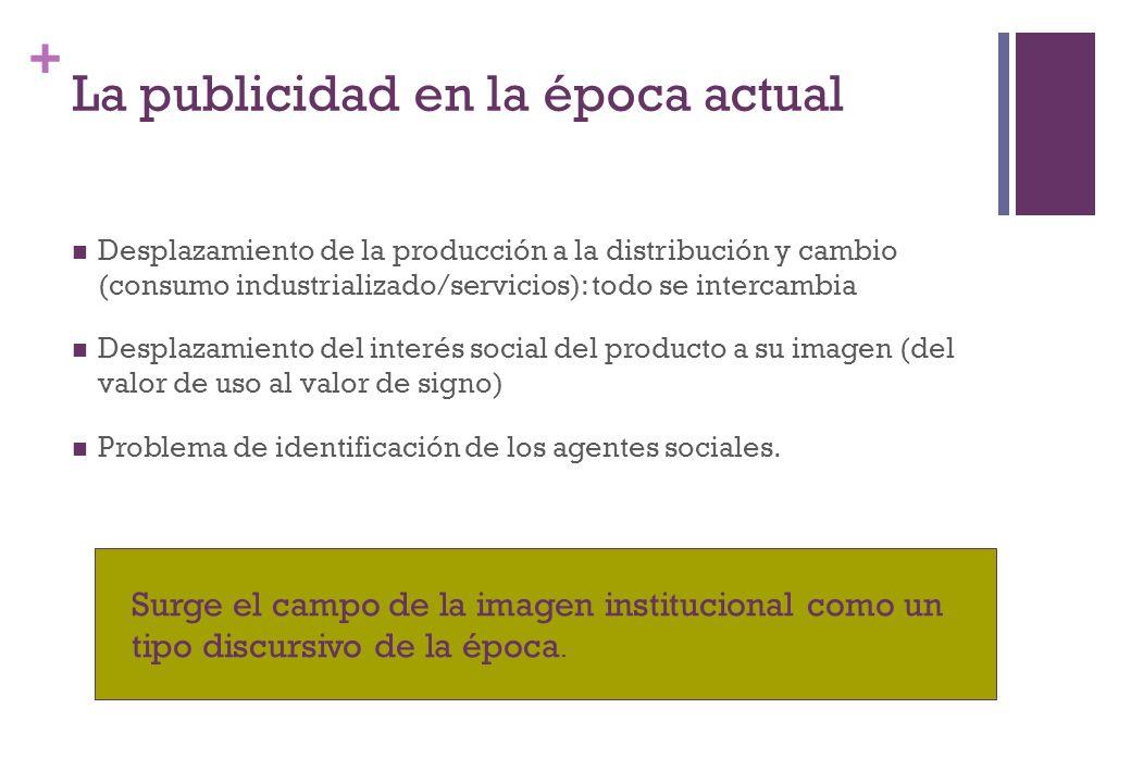 + La publicidad en la época actual Desplazamiento de la producción a la distribución y cambio (consumo industrializado/servicios): todo se intercambia