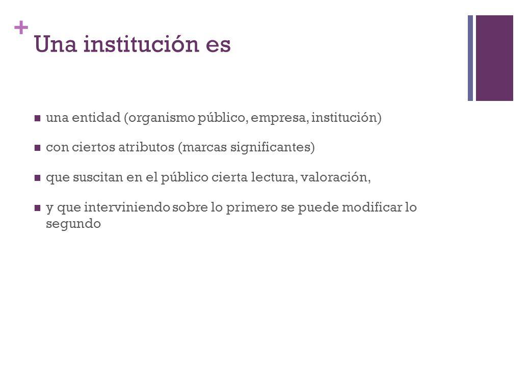 + Una institución es una entidad (organismo público, empresa, institución) con ciertos atributos (marcas significantes) que suscitan en el público cie