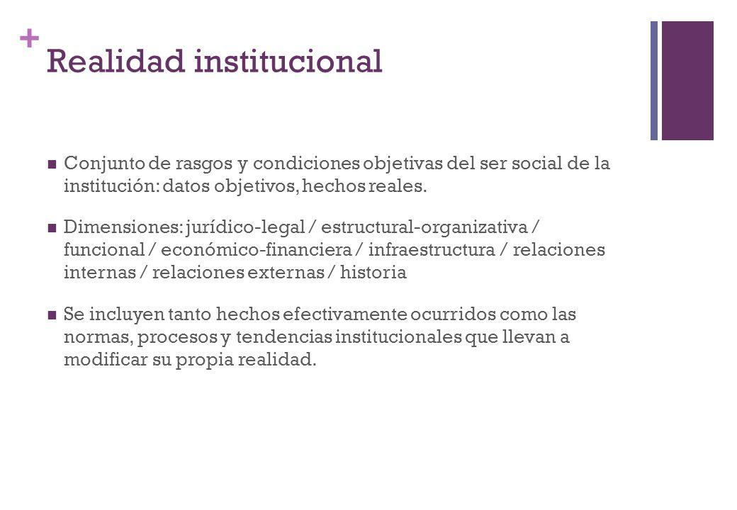 + Realidad institucional Conjunto de rasgos y condiciones objetivas del ser social de la institución: datos objetivos, hechos reales. Dimensiones: jur