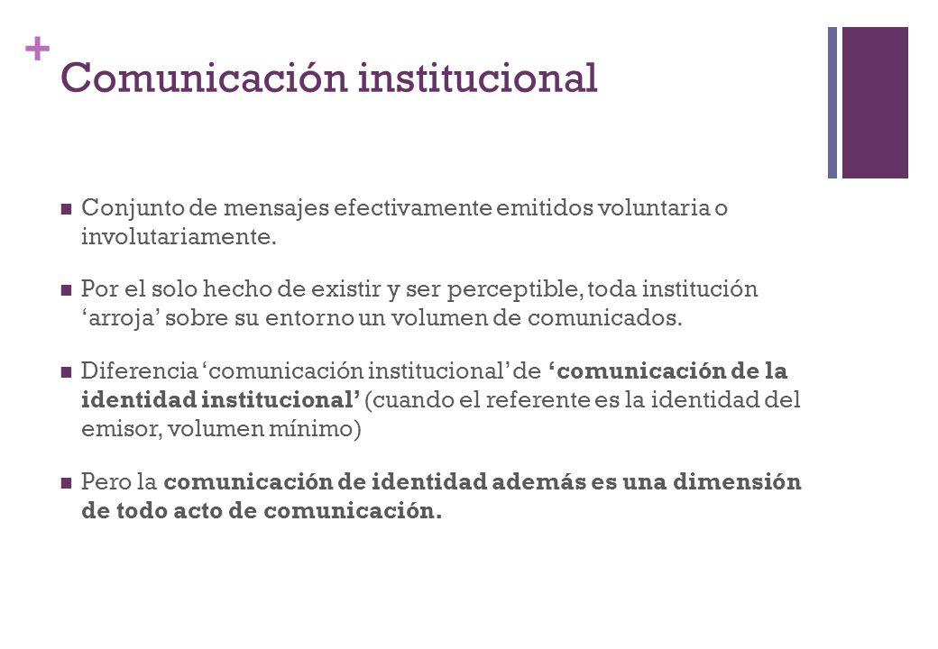 + Comunicación institucional Conjunto de mensajes efectivamente emitidos voluntaria o involutariamente. Por el solo hecho de existir y ser perceptible